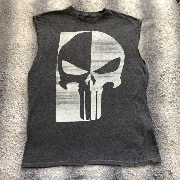 6aedad4c Marvel Shirts | S Punisher Cut Off Tee Mens Large Skull | Poshmark